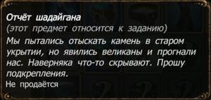 Отчёт шадайгана