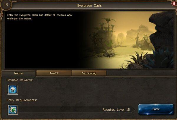 Evergreen Oasis portal screen