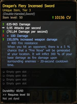 Dragan's Fiery Incensed Sword