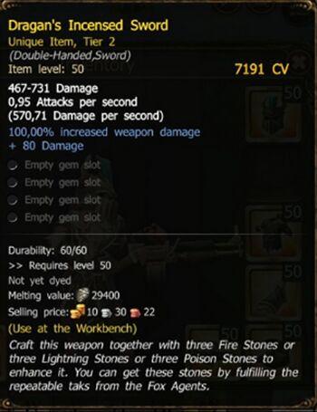 Dragan's Incensed Sword