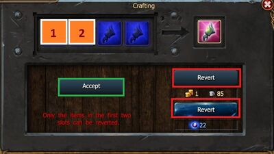 Revert Crafting First Two Slots