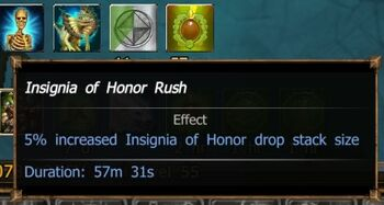 Insignia of Honor Rush (progress buff) effect