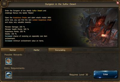 Dungeon in the Sulfur Desert P entrance screen