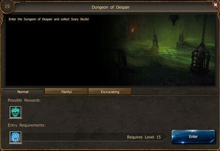 Dungeon of Despair entrance screen
