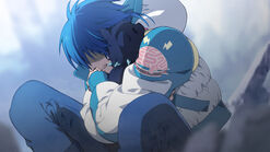 Aoba crying holding ren
