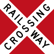 Canadian Railway Crossbuck (with red backing board)