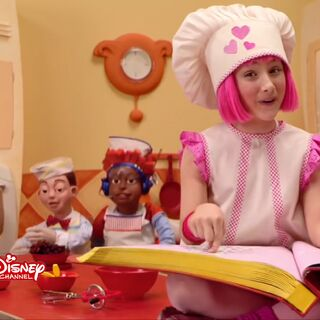 The screen bug during the morning preschool shows (in this case, an episode of LazyTown)