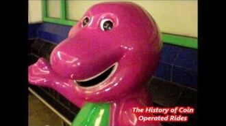 2000s Coin Operated Steam Engine Kiddie Ride - Barney the Dinosaur
