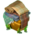 Stack of plaid blanket deco