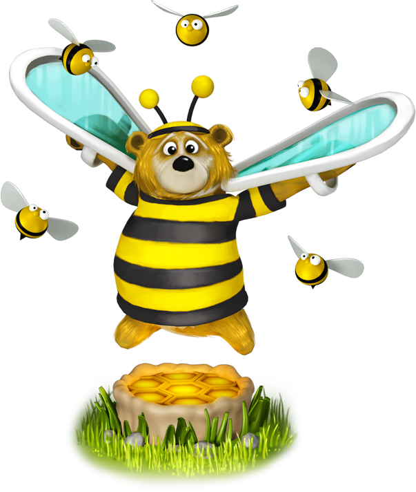 Illus bear bees