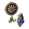 Darts-playing bear