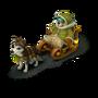 Bear on dog sled deco