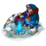 Traveler at campfire deco