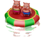 Pigs on a trampoline deco