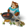 Bear with a barbecue deco