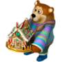 Bear with gingerbread house deco