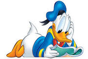 Donald Duck with book