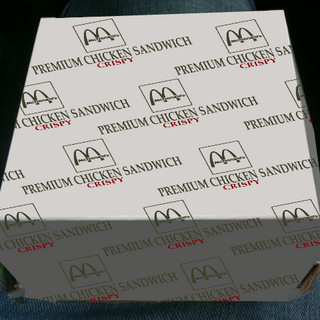 Premium Chicken Sandwich package in 2009 at RKO Food Store's McDonald's in Panama City.