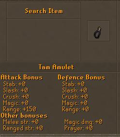 Tam amulet stats