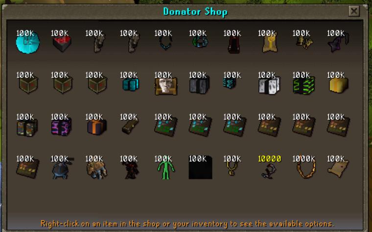 Donator Shop Updated