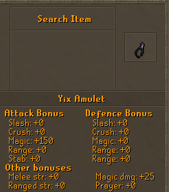 Yix amulet stats
