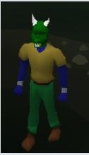 Green Halloween Mask Equiped