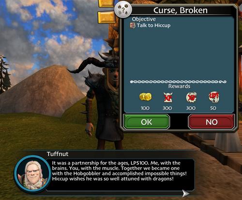 Curse broken quest start