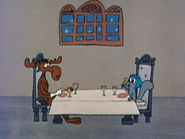 Rocky and Bullwinkle have dinner
