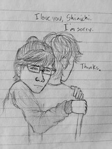 Jirou and Shinichi hug