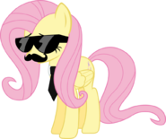 This is Fluttershy wearing a Disguise for a custume party or halloween.
