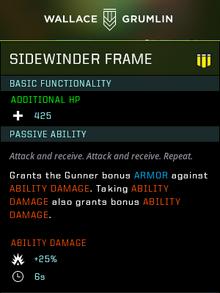 Sidewinder frame gear