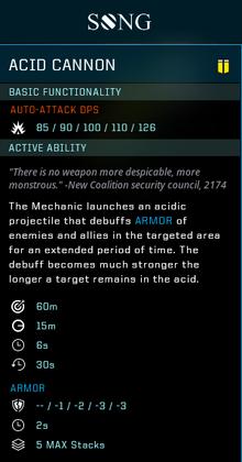 Acide cannon gear