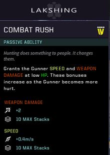 Combat rush gear card