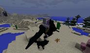 Skeleton riding bat horse