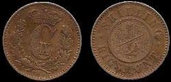 Denmark ½ Rigsmontskilling 1868