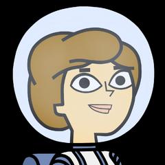 Manuela con traje lunar