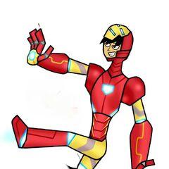 Lance usando la armadura de Iron Man, autodenominado Iron Lance. Hecho por <a href=