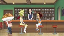 Joe and Kira in Lulu's bar