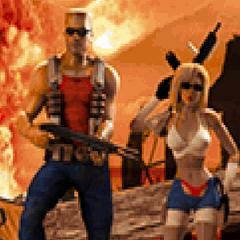 Duke Nukem and Bombshell on the level-end screen in <i><a href=