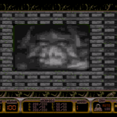 A video screen -or- wallpapering of a Battlelord in SECRET LASER. The Battlelord is not present in this game.