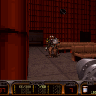 The cinema screen, where several <b>Assault Troopers</b> lurk.