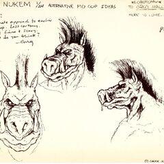 Concept art showcasing the face/head of a <i>Pig Cop</i>.