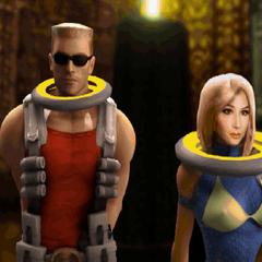 Duke Nukem and Bombshell captured at the beginning of the <i>Space Gladiators</i> episode in <i><a href=
