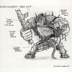 An early concept art showcasing a <i>Pig Cop</i> very different from the final version. It appears as very muscular with spikes growing out of its back, a riot helmet, a huge club, Kevlar armor and a huge amount of weapons chained together - or as it humorously describes it in the picture -
