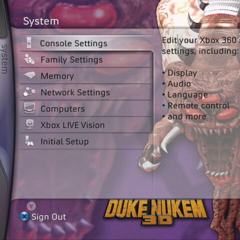 <i>Octabrain</i> artwork on a screen in the Xbox 360 Duke Nukem theme.