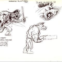 Concept art showcasing the body of a <i>Pig Cop</i>. It has a double-barreled shotgun, nightstick, a vest with the text