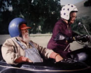 Miz Tisdale on her motorcycle