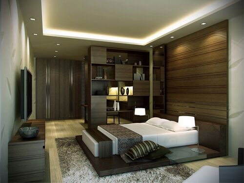 Magnificent-bedroom-ideas-displaying-cool-led-lighting-fixtures-on-the-roof-and-low-glazed-dark-varnished-wooden-platform-bed-under-comfy-white-rectangular-twin-foam-mattress-plus-white-drum-shade-bed