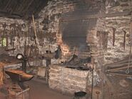 Blacksmith's cottage workshop interior