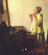 Jan vermeer phi stars painter baroque woman with a pearl necklace